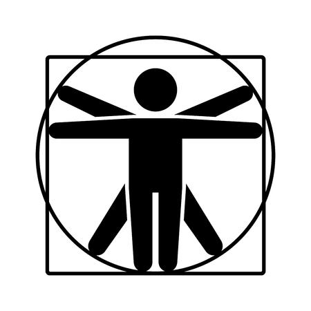 Leonardo da Vinci Vitruvian Man Sign Logo. Stick Style Icon. Vector Illustration  イラスト・ベクター素材