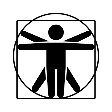 Leonardo da Vinci Vitruvian Man Sign Logo. Stick Style Icon. Vector Illustration Vectores