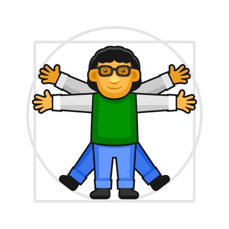 proportional: Leonardo da Vinci Vitruvian Man Sign Logo. Hipster Style Icon. Vector Illustration Illustration