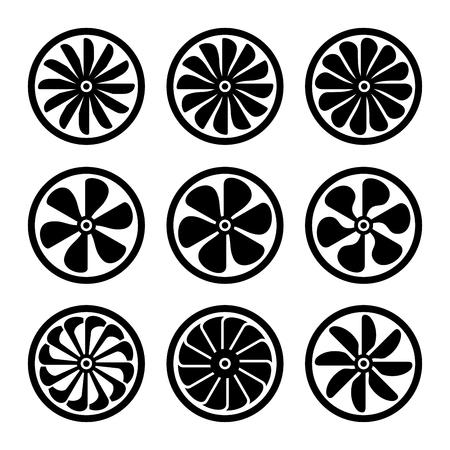 Turbines Icons Set. Turbojet Engine Power. Vector illustration Illustration