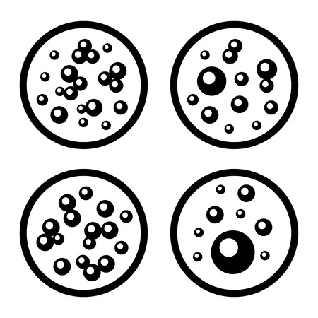 petri: Petri Dishes with Bacteria Icons Set. Vector illustration