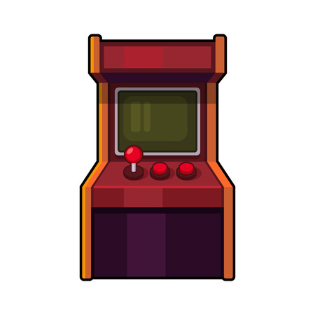 arcade: Classic Arcade Machine. Old Style Gaming Cabinet. Vector illustration Illustration