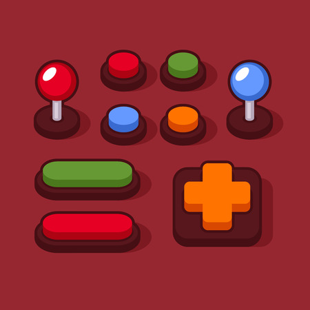 Colorful Buttons and Joysticks Set for Arcade Machine. Vector illustration Illustration