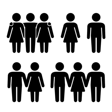 혼자, 커플 및 삼 인조 인간의 아이콘을 설정합니다. 성적 관계의 조합. 벡터 일러스트 레이 션