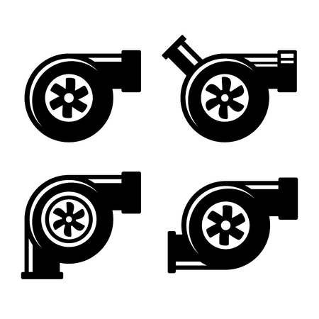 air compressor: Turbocharger Icons Set Isolated on a White Background. Vector illustration