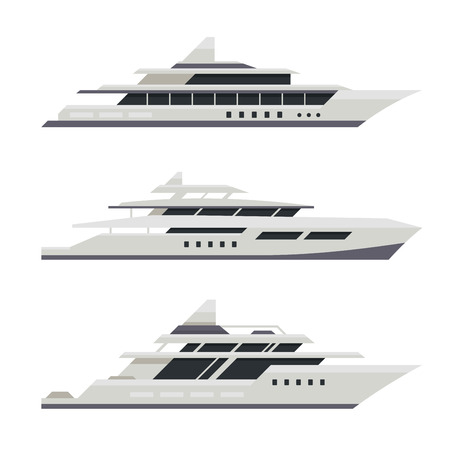 yacht: Motor Yacht Set. Flat Design Style. Vector illustration