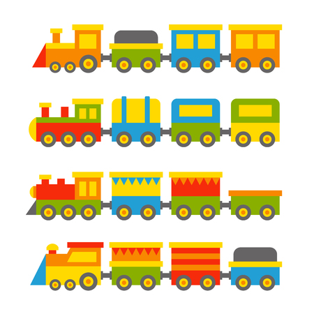 Simple Style Color Toy Trains and Wagons Set. Vector illustration Çizim