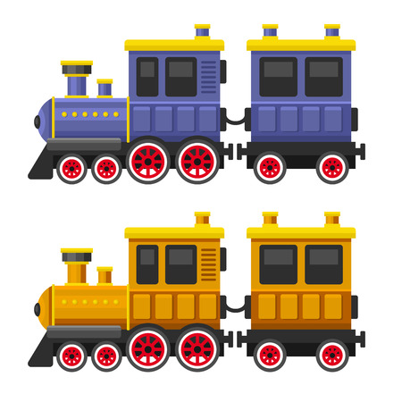iron curtains: Simple Style Color Toy Trains and Wagons Set. Vector illustration Illustration