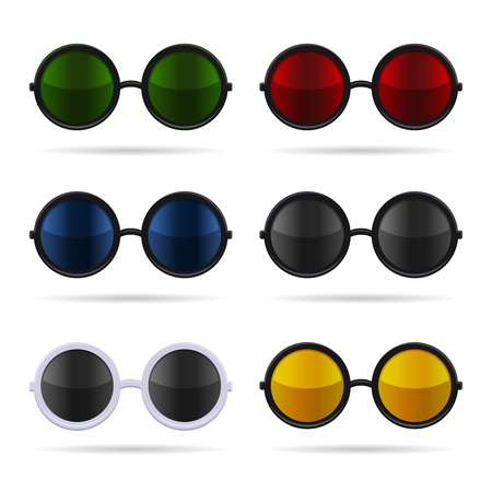 eye shade: Sunglasses Set with Color Glasses on White Background. Vector illustration