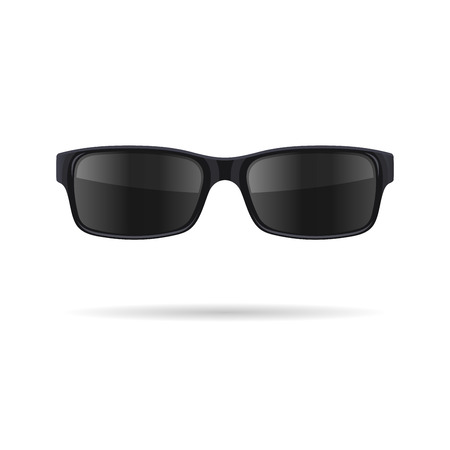 sunglasses: Sunglasses with Black Glasses on White Background. Vector illustration