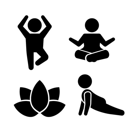 fit body: Yoga Meditation Poses Icons Set. Vector Pictogram Illustration