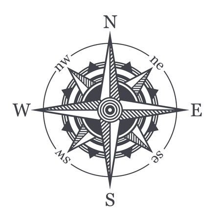 oceans: Wind Rose or Compass Icon on White Background. Vector Illustration