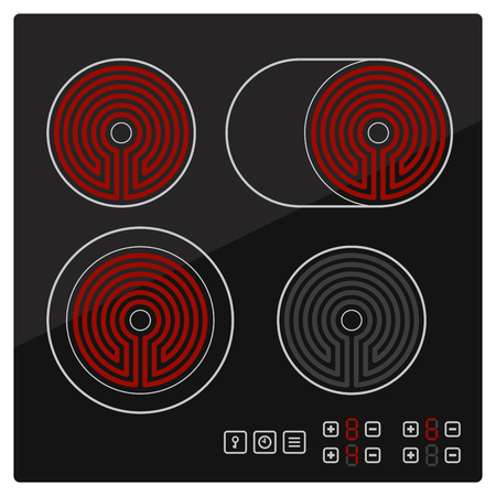 Kitchen Electric hob with ceramic surface and touch control panel. Vector