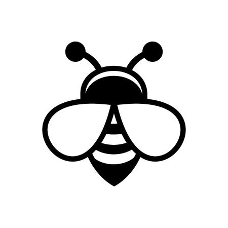 白い背景の蜂のロゴ記号アイコン。ベクトル図