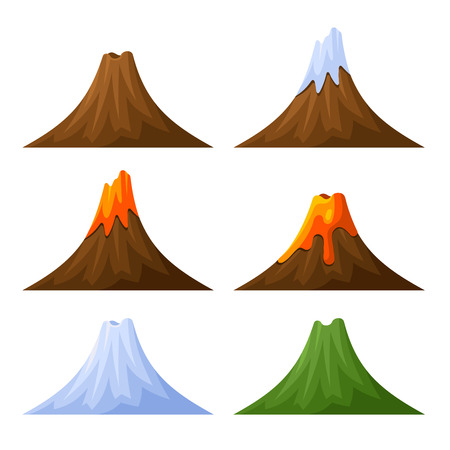 Mountain with Volcano, Forest and Snow Set. Vector illustration Vettoriali