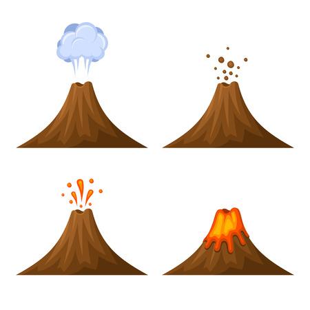 Vulcano Icon Set isolato su sfondo bianco. illustrazione di vettore