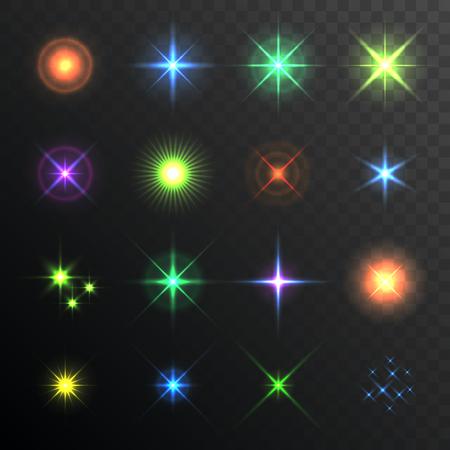 lighting effects: Light Glare, Highlight. Lens Flares Set. Lighting effects of flash. illustration