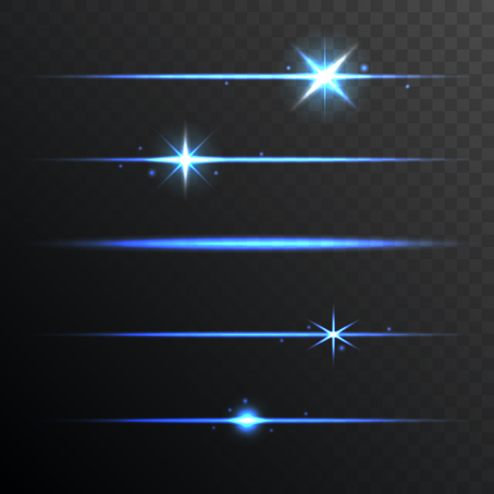 glowing lights: Flare Glowing Lights and Stars Set on Transparent Background. illustration