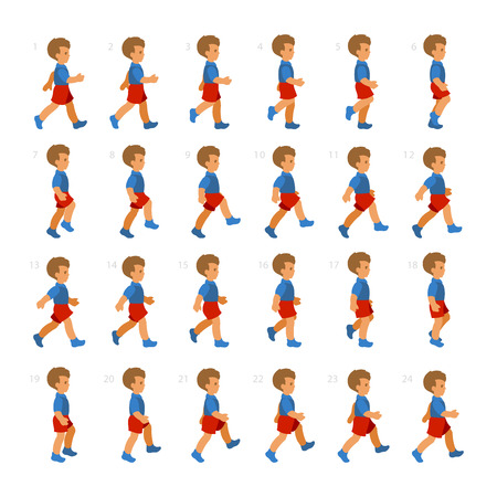 Fasen van Step Bewegingen Boy Wandelen Sequence voor Game Animation. Stock Illustratie