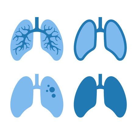 Human Blue Lung Icons Set. Illustration.