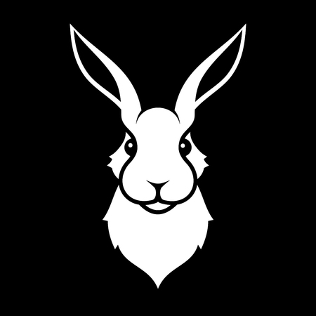 Rabbit Icon on Black Background.