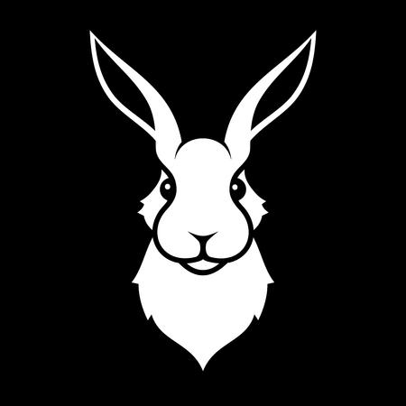 rabbits: Rabbit Icon on Black Background.