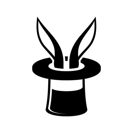 sombrero de mago: Conejo truco mágico en Asistente del icono del sombrero. Ilustración
