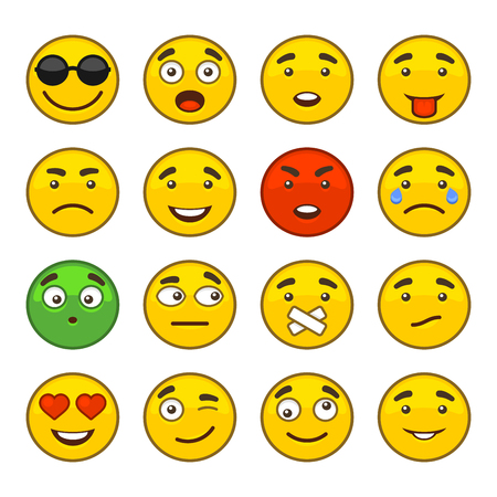 Set of Emoji Smile Icons Set. illustration