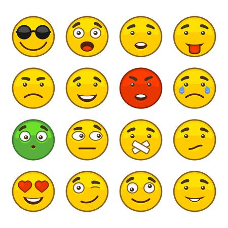 Set von Emoji Lächeln Icons Set. Illustration