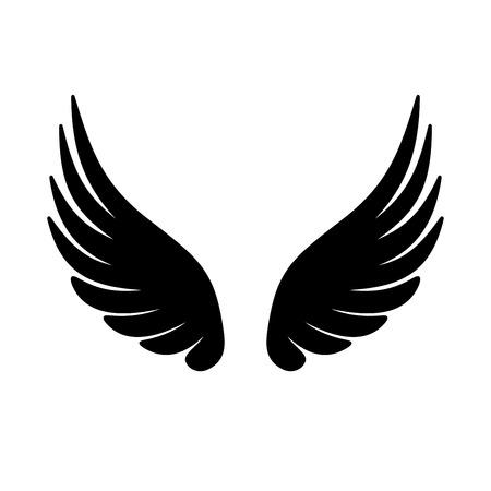 흰색 배경에 날개 아이콘입니다. 삽화