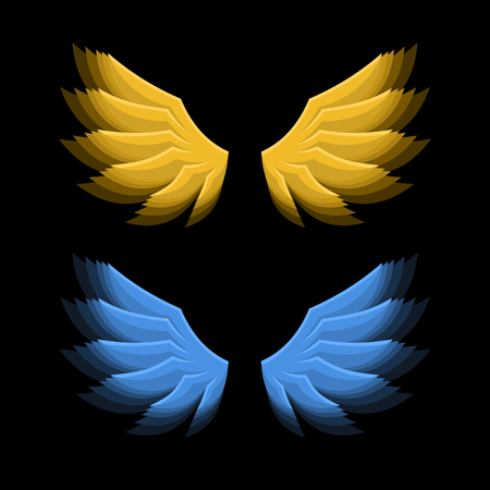 fiery: Fiery Golden and Blue Wings on Black Background. illustration Illustration