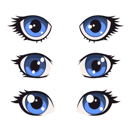 Blu Cartoon Anime Eyes Set. illustrazione di vettore