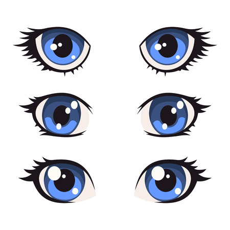 dilated pupils: Blue Cartoon Anime Eyes Set. Vector illustration
