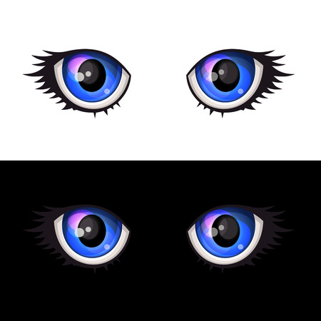 looks: Blue Cartoon Anime Eyes Set. Vector illustration