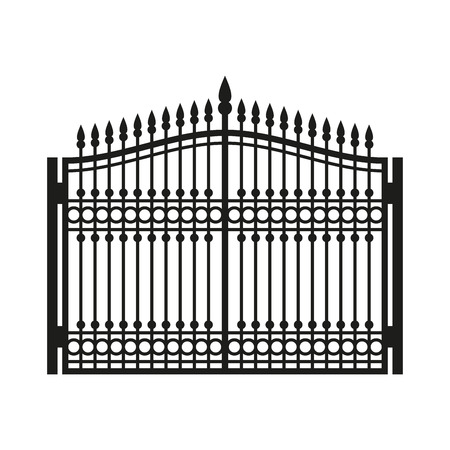 Fence Wrought Iron Gate. Old Style Door. Vector illustration Vettoriali