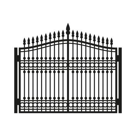 Fence cancello in ferro battuto. Vecchio stile porta. illustrazione di vettore Vettoriali