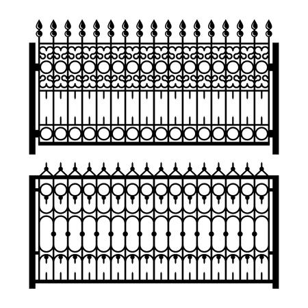 gates: Old Style Decorative Iron Fences Set. Vector illustration