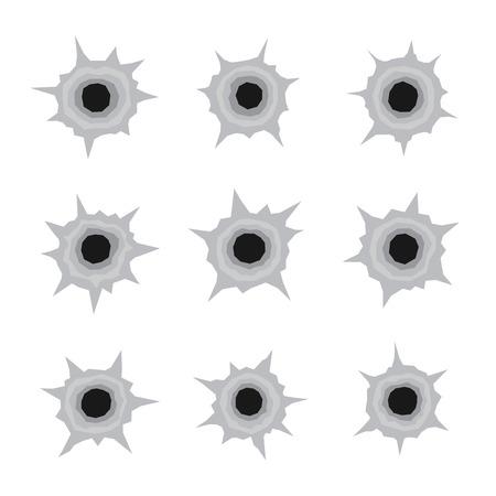 gunshot: Bullet Holes Set Icons in White Background. Vector illustration Illustration