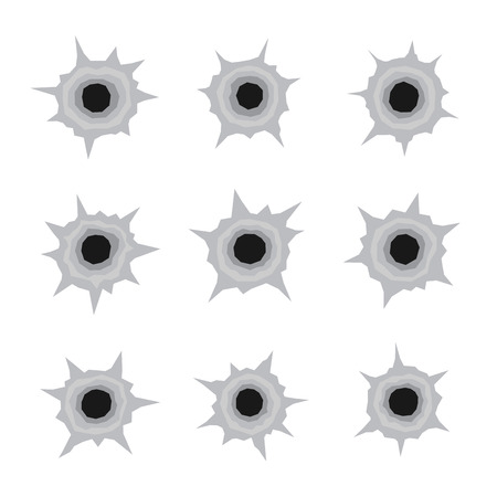 rapid fire: Bullet Holes Set Icons in White Background. Vector illustration Illustration