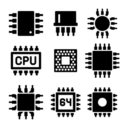 microprocessor: CPU Microprocessor and Chips Icons Set. Vector illustration.