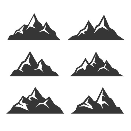 snow capped: Mountain Icons Set on White Background. Vector illustration