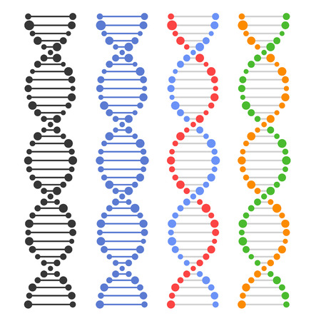 on a white background: DNA Genome Molecules Set on White Background. Vector illustration