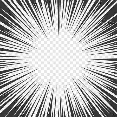 Strips Radial Speed Lines grafische effecten op transparante achtergrond. vector illustratie