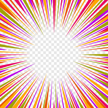 graphic novel: Color Comics Radial Speed Lines graphic effects on Transparent Background. Vector illustration Illustration