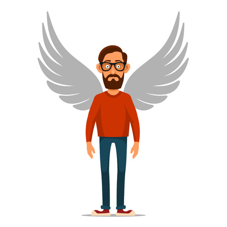 capitalist: Hipster Businessman with Wings. Angel in flat style. Vector illustration Illustration