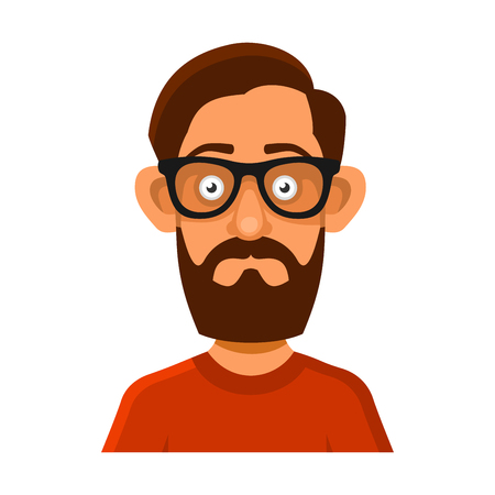 userpic: Hipster Man in Glasses Avatar Profile Userpic on White Background. Vector illustration