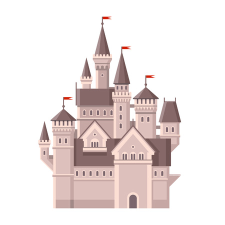 gates: Castle. Magic Fairy Tale Building with Red Flags. illustration Illustration