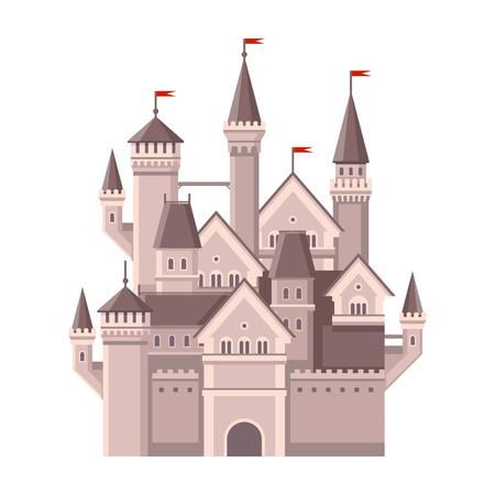 castillos de princesas: Castillo. Magia Fairy Tale Edificio con banderas rojas. ilustración