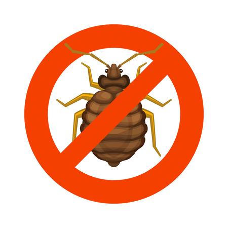 letti: Inizio Bedbug segno rosso su sfondo bianco. illustrazione Vettoriali