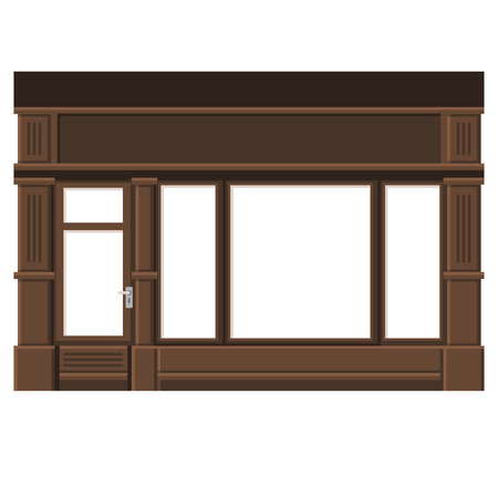 awnings: Shopfront with White Blank Windows. Wood Store Facade. Illustration.